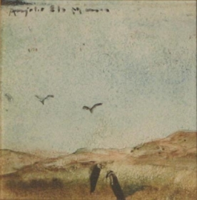 Anjolie Ela Menon UNTITLED (4 CROWS) Oil on board 4.5 x 4.5 in.  SOLD