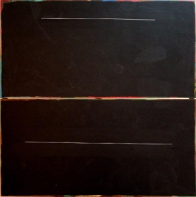 Yogesh Rawal UNTITLED 21 2007 Tissue paper, cellulose & synthetic resin on wood 48 x 48 in.  SOLD