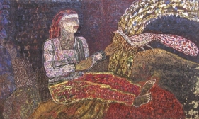 Jayashree Chakravarty SEATED WOMAN & PEACOCK 1989 Tempera on canvas board 11.5 x 19.5 in.