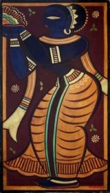 Jamini Roy Blue Apsara (Apsara Holding Harvest) Gouache on card 25 x 13.5 in.
