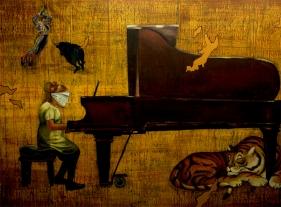 G. R. Iranna, Give Me Freedom, 2007, acrylic on tarpaulin, 66 x 90 in