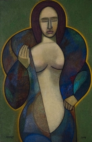 Neeraj Goswami WOMAN IN A TRANCE 2008 Oil on canvas 36 x 24 in.
