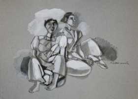 Two Happy Women ND Watercolor and pen on grey paper 14 x 10 in.