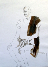 Laxma Goud UNITITLED (MAN HAND ON KNEE) 1981 Watercolor and ink on paper 14 x 10 in.