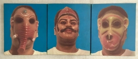 Nitin Mukul  Untitled Triptych (three faces)  2003  C-print and Acyrlic on canvas  12 x 30 x 1.13 in