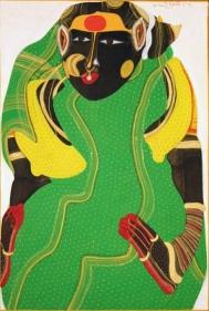 T. Vaikuntam FEMME VERTE 1995 Acrylic on paper 14 x 10 in.
