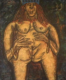 F.N. Souza BLUE NUDE 1963 Oil on canvas 57 x 47 in.
