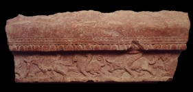 Architectural Panel with Mythical Winged Animals Northern India, Kushan Period / 2nd-3rd Century Pink sandstone 41.7 x 16.5 in.