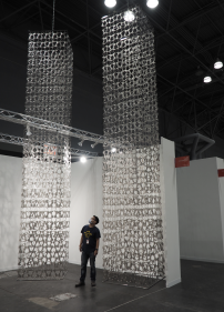 Visualization of Sculpture  Adeela Suleman  Rise I and II, 2021  Stainless steel with hand-beaten repousse work  42 x 42 x 246 in