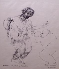 Nalini Malani MADMAN - LOHAS CHAWL 1987 Ink on paper 11 x 15 in.