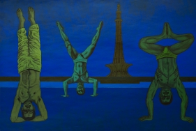 Anwar Saeed  Homage to the Sacredness of the Straight, 2010  Acrylics and charcoal on canvas  32 x 44 in