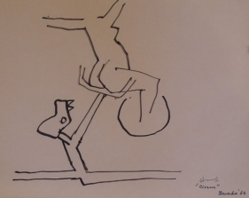 M. F. Husain CIRCUS SERIES 2 1964 Marker on paper 8.5 x 11 in.