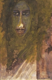 Rabindranath Tagore WOMAN 1939 Watercolour and coloured ink on paper 16 x 9.5 in.  NFS
