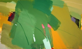 Hukumlal Verma LANDSCAPE GREEN 2007 Oil and acrylic on canvas 36 x 60 in.  SOLD