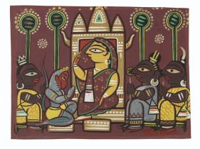 Jamini Roy  Untitled (Scene from the Ramayana)  tempera on paper laid on card  13.63h x 18.63w in