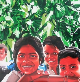 Binoy Varghese REFUGEES / THEIR OWN LANDS - IX 2008 Acrylic on canvas 72 x 72 in.