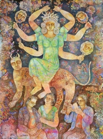 Sakti Burman MADHAV READING THE STORIES OF DEVI 2008 Oil on canvas 51 x 38 in.