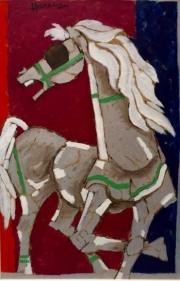 M.F. Husain Wild Stallion 1990s Acrylic on canvas 40 x 26 in.