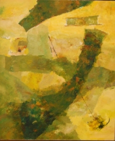 Ram Kumar UNTITLED ABSTRACT (GREEN/YELLOW) 2007 Oil on canvas 36 x 30 in.
