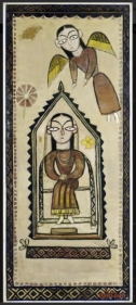 Jamini Roy The Annunciation  1948 Tempera on linen 41 x 17 in.