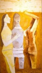 M.F. Husain WOMEN IN YELLOW 1970 Oil on canvas 53 x 29 in.