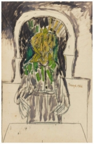 F.N. Souza  Untitled (Priest at Altar)   1966  Oil and marker on cloth   50.5 x 33 in.
