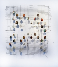 Ruby Chishti  Warp and Weft  2020  Steel, apoxy clay, paint, fabric, thread  55h x 55w in