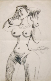 F.N. Souza UNTITLED (STANDING NUDE WITH BRACELETS 1) 1948 Ink and pen on paper 13.5 x 8.5 in.