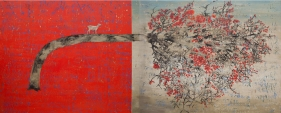 G. R. Iranna  Full of Ego, 2017  Acrylic on tarpaulin  54 x 134 in