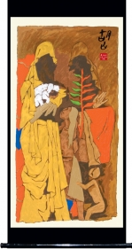 M. F. Husain MOTHER - XVIII 2006 Screenprint in 31 colors 84 x 40 in.