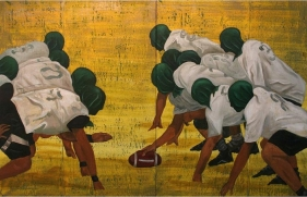 PLAYING WITH THE WHITE BALL (RUGBY) 2007 Acrylic on tarpaulin 66 x 104 in (diptych)