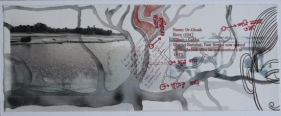 Sanchayan Ghosh A RED INDIAN GHOS(H)T IN NEW YORK - EPISODE 1-B 2007 Inkjet print & drawing on somerset paper (a book folio with three epsiodes with seven pages each) 8 x 22 in.