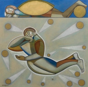 Neeraj Goswami PLAY I 2006 Oil on canvas 48 x 48 in.