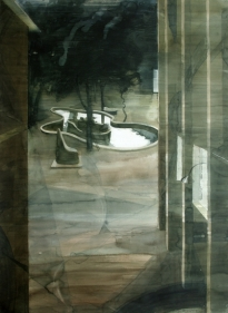 Indrapramit Roy THE POND (MIDNIGHT IN THE GARDEN OF GOOD AND EVIL) 2007 Watercolor on paper 55.5 x 40 in.  SOLD