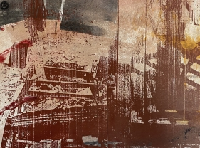 Nitin Mukul  Stroll, 1991  Unique silkscreen with monoprint  11 x 15 in