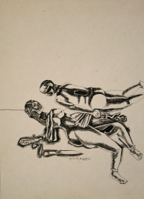 Laxma Goud Untitled (Couple with Knife) 1983 Ink on paper 10 x 14 in.