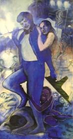 Shrilekha Sikander SUPERMAN (BLUE) Oil on canvas 58 x 30 in.