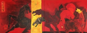 M. F. Husain   Ode to Xu Beihong  Oil and acrylic on canvas  32 x 83 in
