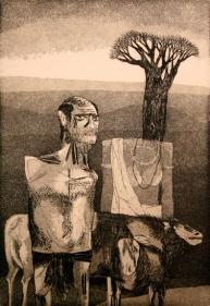 UNTITLED ( MAN WITH GOATS NEAR TREE ) 1972 Etching 9 x 6.5 in.