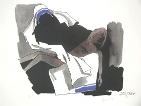 M F Husain MOTHER TERESA HOLDING THE CHILD (Mother Teresa Series) Limited edition serigraph (edition of 300) individual serigraph $2,000; set of 3 $5,000 17 x 22 in.