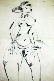 F.N. Souza Untitled (Nude with Hands on Hips) 1948 Charcoal on paper 13 x 8.5 in.