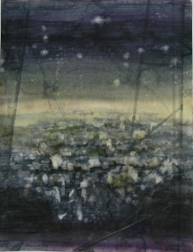Indrapramit Roy UNTITLED CITIES 1 Watercolor on paper 23 x 18 in.  SOLD