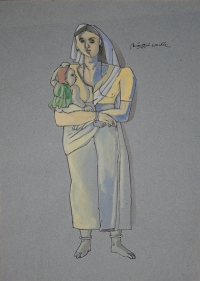 Laxma Goud UNTITLED (WOMAN WITH CHILD) 1987 Gouache on paper 14 x 10 in.