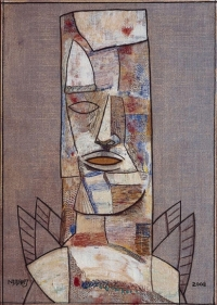 Neeraj Goswami MAN WITH TWO PAIRS OF WINGS 2008 Acrylic on canvas 46.5 x 33 in.