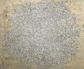 G. R. Iranna  Fragile Tree, 2017  Acrylic and ash on tarpaulin  54 x 66 in