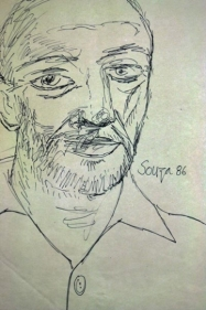 F. N. Souza UNTITLED (BEARDED SELF-PORTARIT) 1986 Ink on vellum 15.5 x 12.5 in.