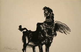 UNTITLED ( COW WOMAN ) 1979 Ink on paper 7.5 x 12 in.