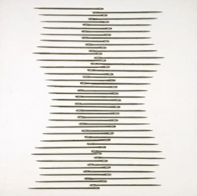 Roohi Ahmed ENTWINED 2009 Large metallic needles on board 16.5 x 16.5 in.