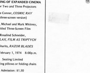 An Evening of Expanded Cinema: Films for Two or Three Projectors