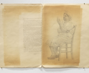 Pencil drawing of an elderly woman, sitting, looking at her phone, drawn on an open manila folder